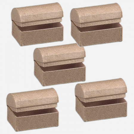 Lot 5 boxes Treasure chests with rounded lid, 8 x 5.5 x 5.5 cm,in cardboard