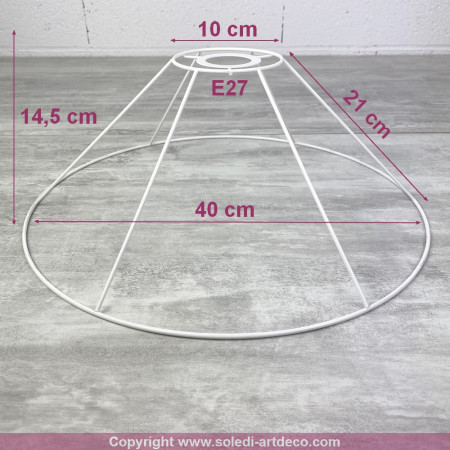 Suspension frame, 40 cm conical, ceiling light 6 branches, in anticorrosion epoxy, for E27