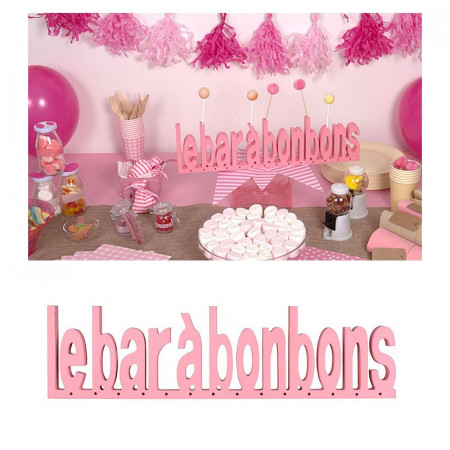 Candy bar, in pink wood, for birthday, baby shower or wedding size 44.50 X 12 X 3.50 cm