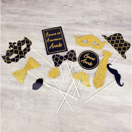 Photobooth kit, New Year's Day photo booth, navy blue and glitter gold, Set of 12 pieces: mustache, glasses, mouth ...