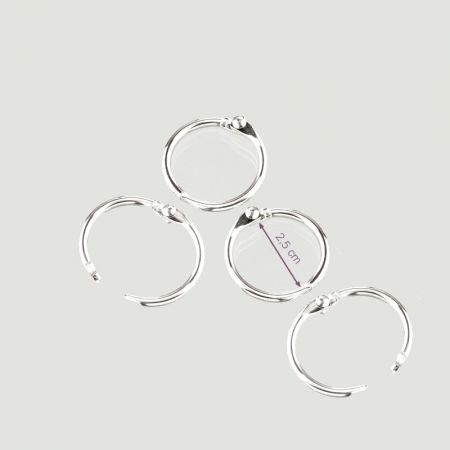 Lot of 4 Keys rings open, 25/30 mm, silver color, nickel-plated