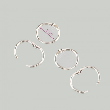 Big Lot of 16 Keys rings open, 20/25 mm, silver color, nickel-plated