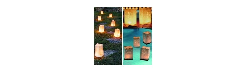 Paper bag lanterns made of fireproofed paper
