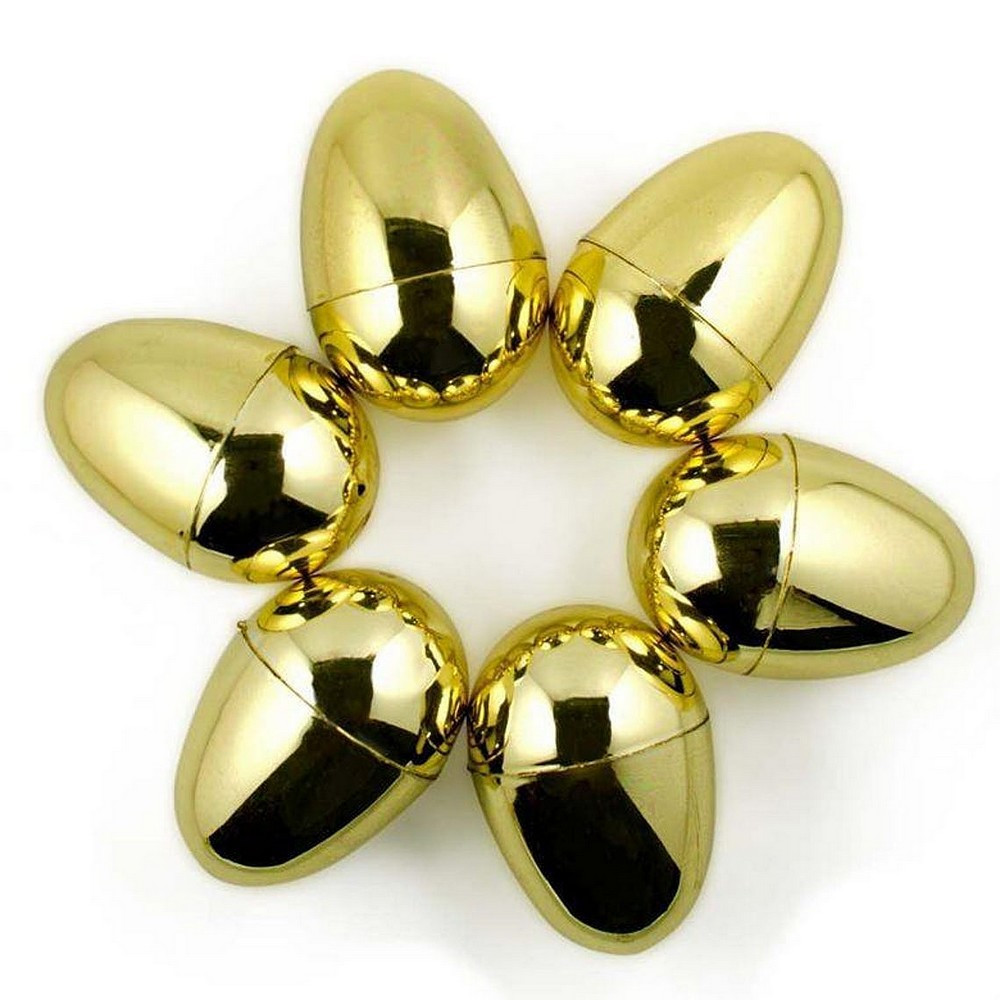 Set of 6 golden plastic eggs, height 6 cm, separable with hinge, easter